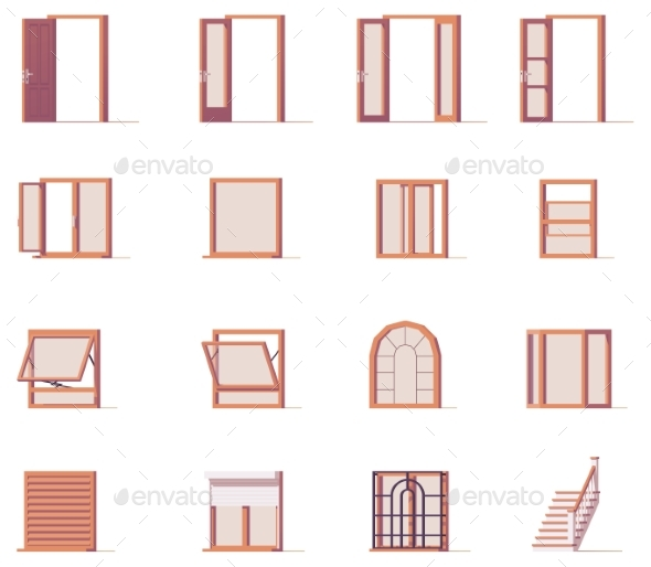 Vector Windows and Doors Set - Objects Vectors