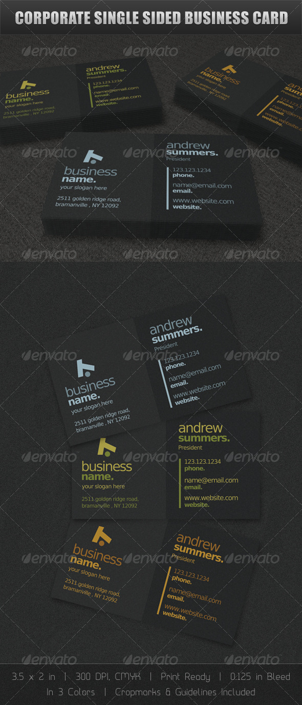Corporate Single Sided Business Card - Corporate Business Cards