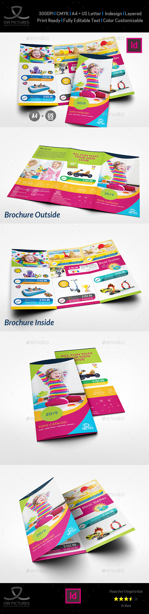 Toys Products Catalog Tri-Fold Brochure Template - Catalogs Brochures