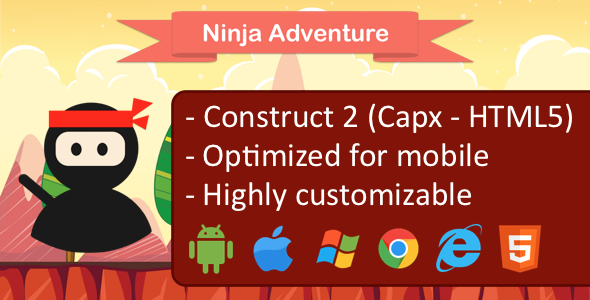 CodeCanyon Ninja adventure construct 2 game Capx HTML5 optimized for mobile and desktop admob 20409782