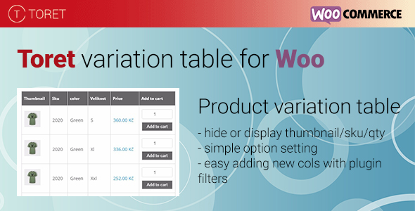 Toret Product Variation Table - CodeCanyon Item for Sale
