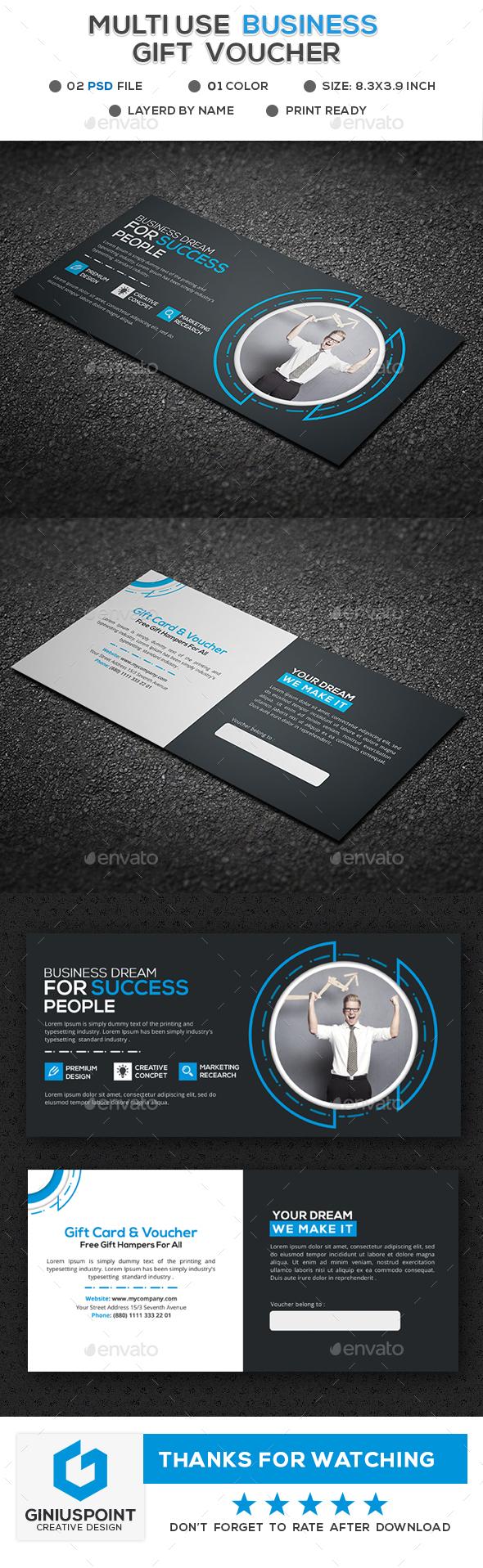 Multiuse Gift Voucher - Cards & Invites Print Templates