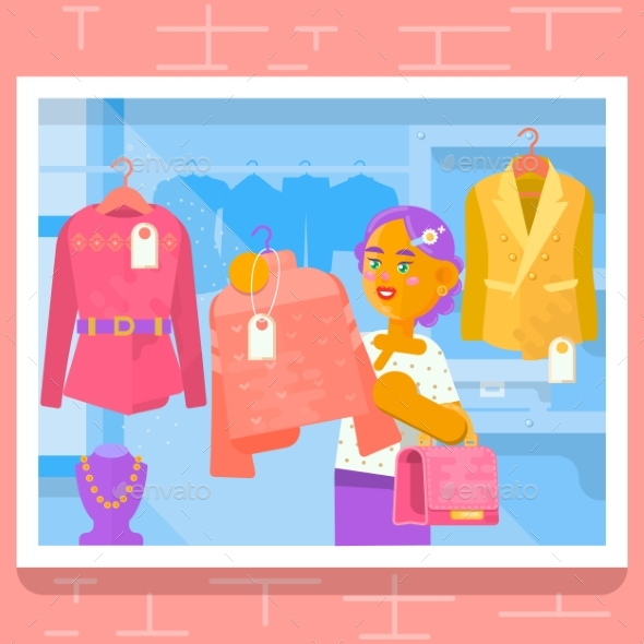 GraphicRiver Young Girl Buying Dress at Store Vector 20447558