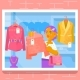 Young Girl Buying Dress at Store. Vector
