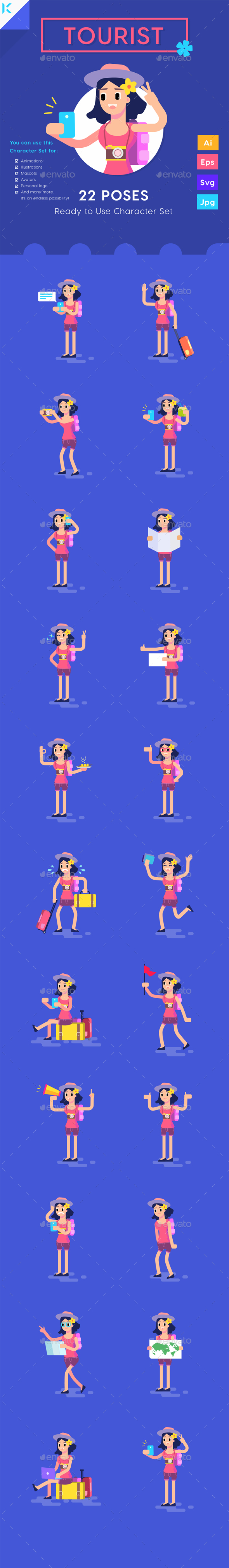 GraphicRiver Woman Tourist Travelling with Smartphone Character Set 20447646