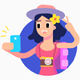 Woman Tourist Travelling with Smartphone Character Set