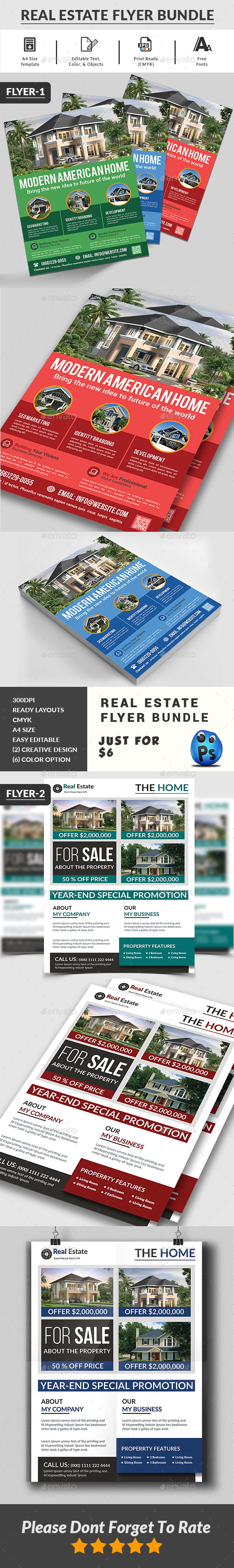 Real Estate Flyers Bundle Templates - Corporate Flyers