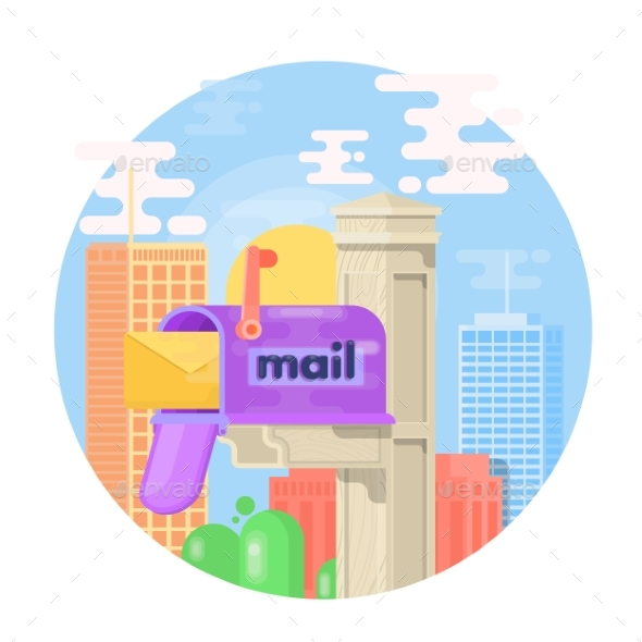 Open Mail Box with an Envelope on the Cover - Miscellaneous Vectors