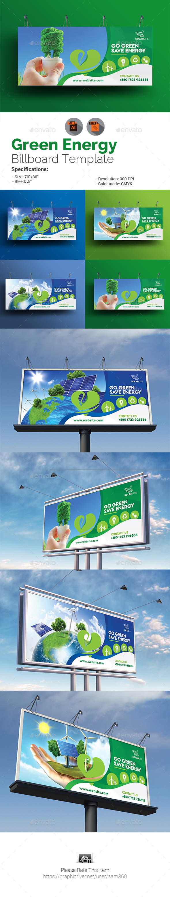 Green Energy Billboard - Signage Print Templates
