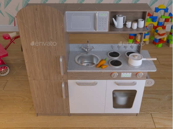 Children Kitchen Design Interior Play Set - 3D Backgrounds