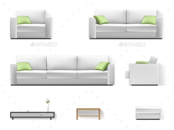 White Sofa with Green Pillow - Objects Vectors