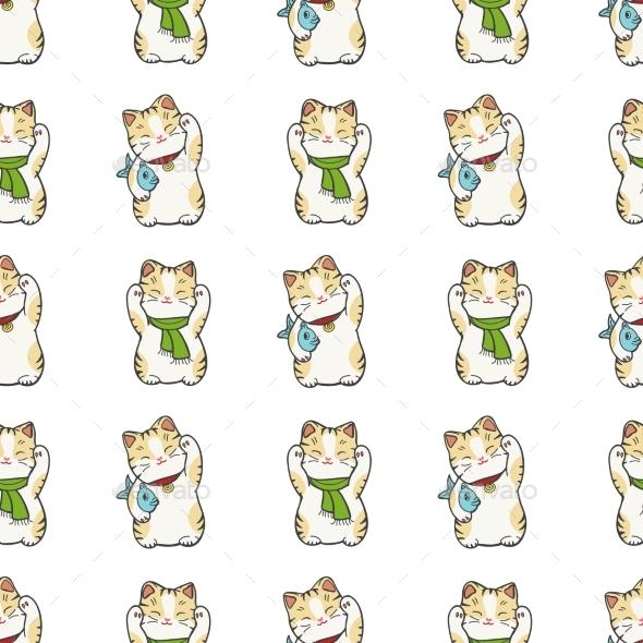 Kitten Seamless Pattern Design - Miscellaneous Vectors