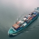 Aerial View of Cargo Ship Sailing in Sea