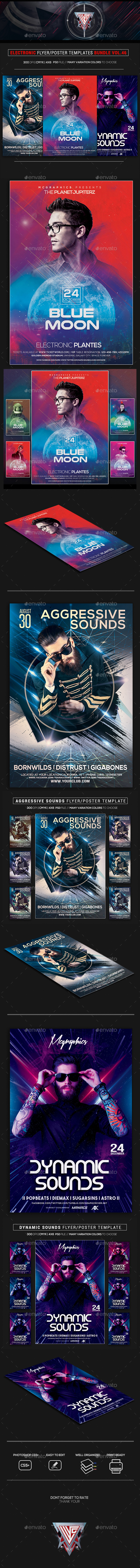 Electro Music Flyer/Instagram Bundle Vol. 46 - Flyers Print Templates