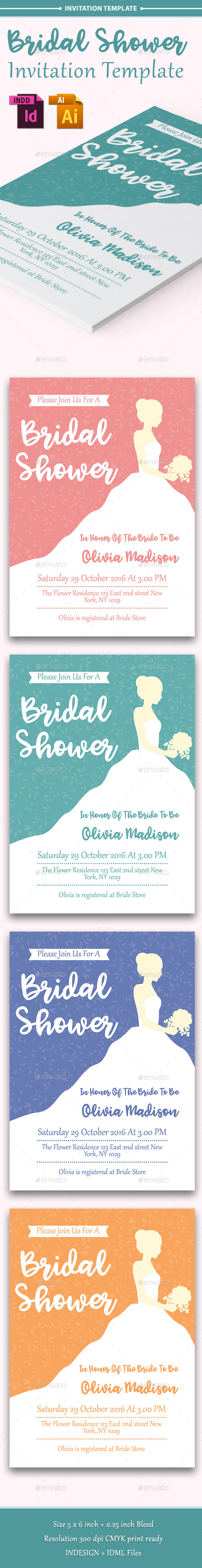 Bridal Shower Invitation Template - Vol. 2 - Cards & Invites Print Templates