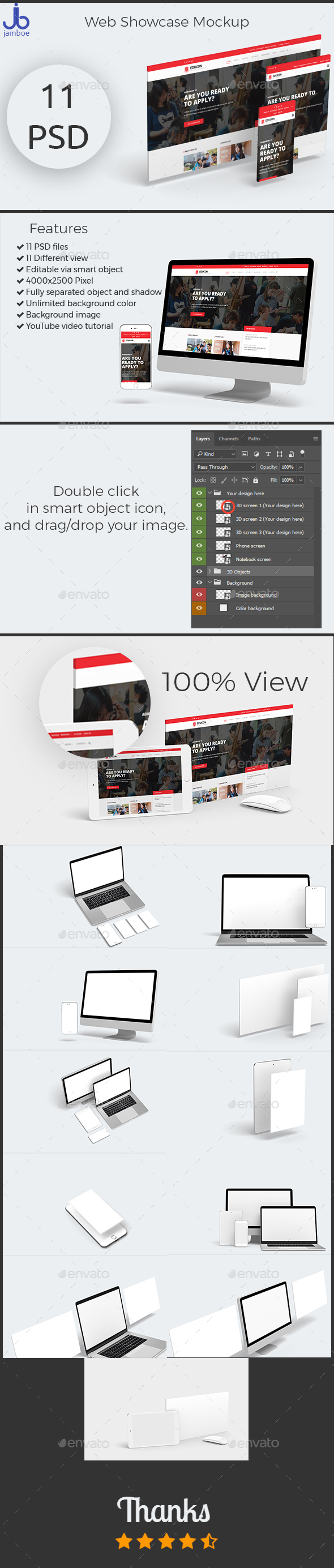 3D Web Showcase Mockup (11 PSD Files) - Multiple Displays