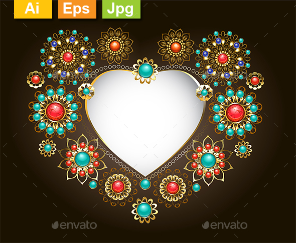 Ethnic Frame in the Shape of Heart - Decorative Vectors