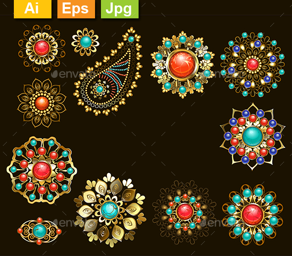 GraphicRiver Set of Jewelry Ethnic Brooches 20449648