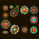 Set of Jewelry Ethnic Brooches