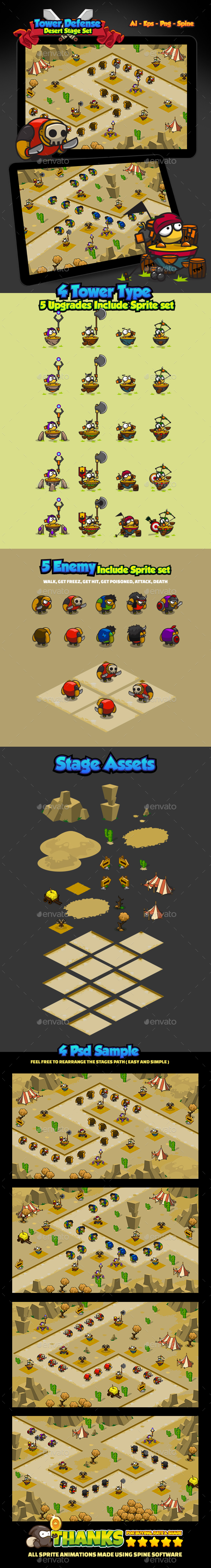 Tower Defense Desert Pack - Game Kits Game Assets