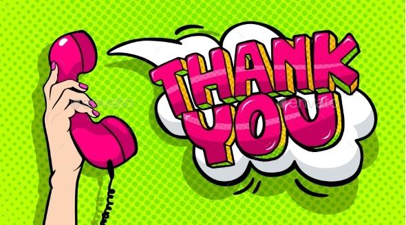 Thank You Word Bubble in Pop Art Comics Style. - Miscellaneous Vectors
