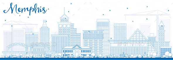 Outline Memphis Skyline with Blue Buildings. - Buildings Objects