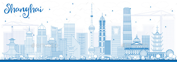 GraphicRiver Outline Shanghai Skyline with Blue Buildings 20450081