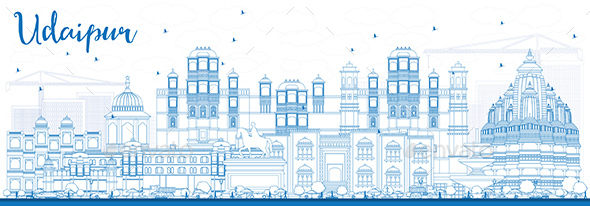 Outline Udaipur Skyline with Blue Buildings. - Buildings Objects