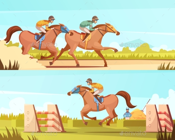 Equestrian Sport Horizontal Banner - Backgrounds Decorative