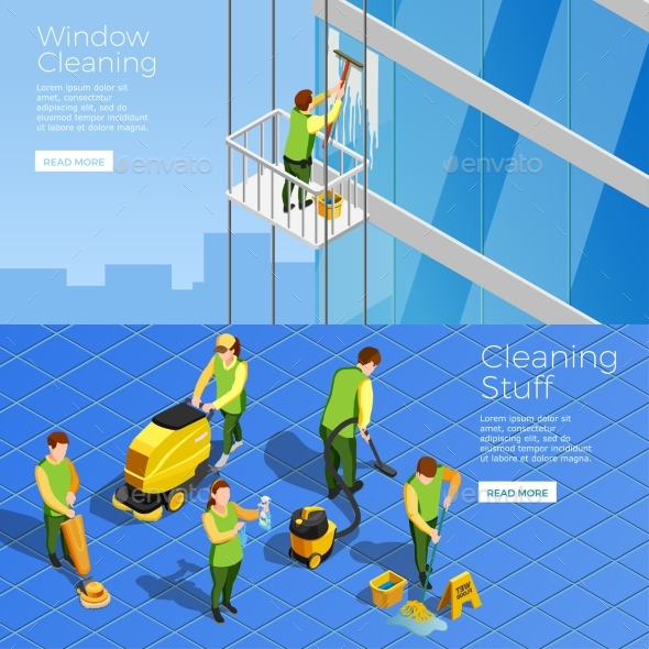 Cleaning Isometric Horizontal Banners - Backgrounds Decorative