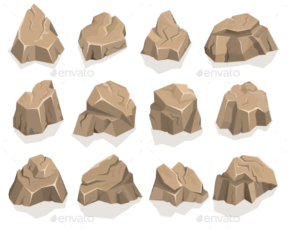 Rock Stone Set Cartoon - Objects Vectors