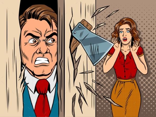 Man Breaking in the Door Comic Book Style Vector - Business Conceptual