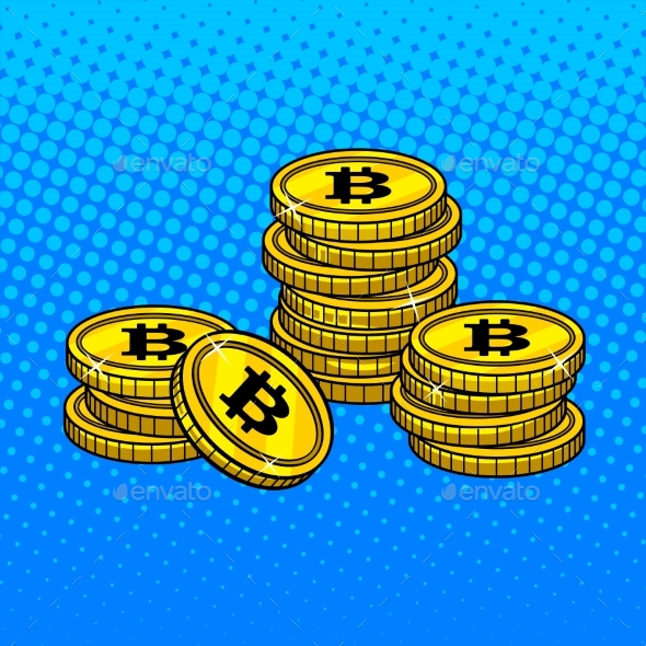 Bitcoin Money Pop Art Style Vector Illustration