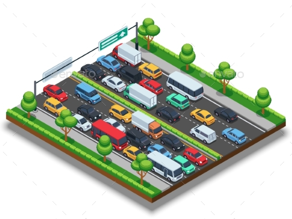 Isometric Highway with Traffic Jam.  - Objects Vectors