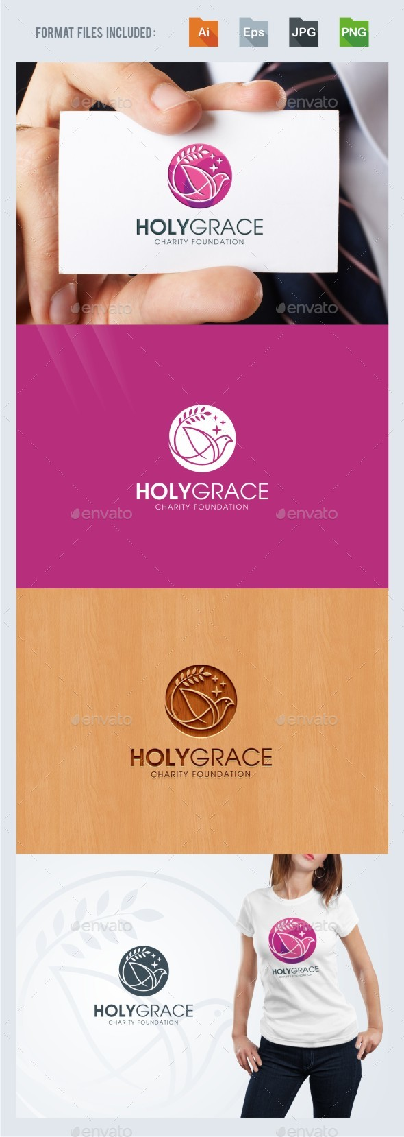 Holy Grace - Dove Logo Template - Animals Logo Templates