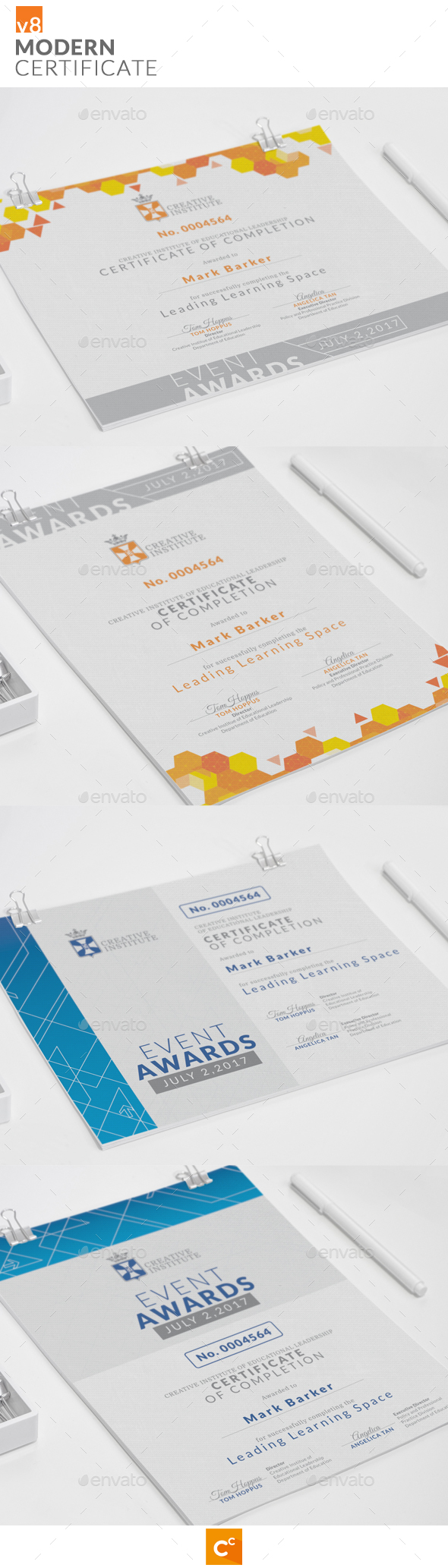 Modern Certificate v8 - Certificates Stationery