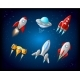 Vector Spaceship and UFO Vector Set in Cartoon - GraphicRiver Item for Sale