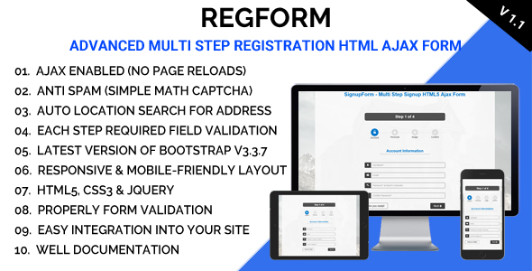 RegForm - Advanced Multi Step Registration HTML Ajax Form - CodeCanyon Item for Sale