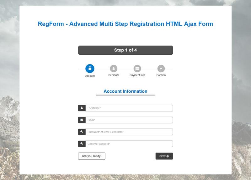 Regform Advanced Multi Step Registration Html Ajax Form By Mgscoder
