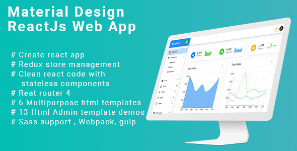 React Material Design Admin web app with Redux, Router 4,  bootstrap 4 + Html version