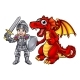 Cartoon Dragon and Knight - GraphicRiver Item for Sale