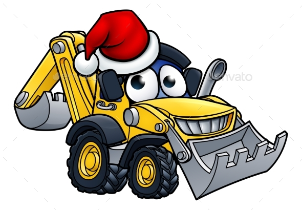 Cartoon Christmas Digger Bulldozer Character - Industries Business