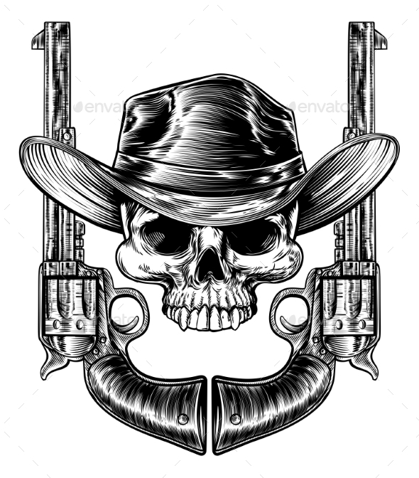 Skull Cowboy Hat and Guns - Miscellaneous Vectors