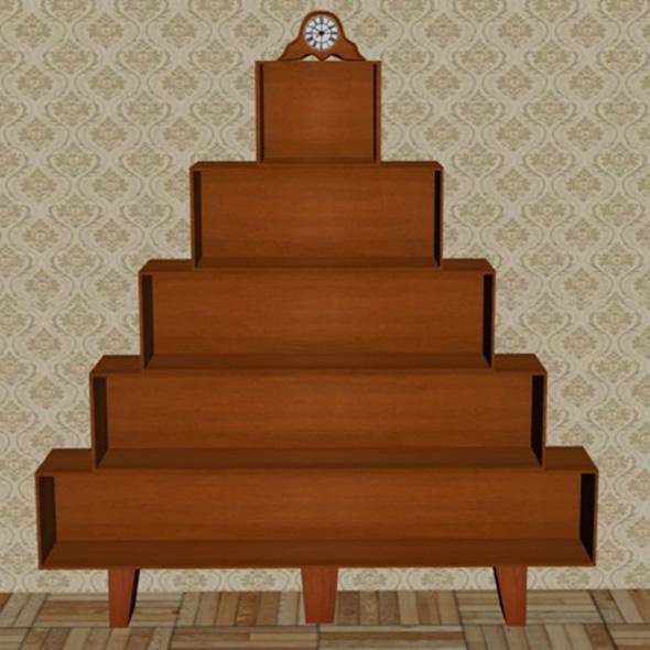 3DOcean Wooden bookshelf 20450458
