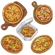 Set of Vector Illustrations Whole Pizza and Slice