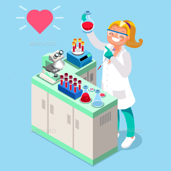 Clinical Laboratory People Isometric Icons Vector - Vectors