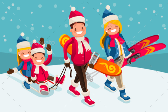 Family Snow Skiing People Isometric Cartoon Character Vector - Vectors