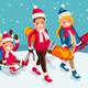 Family Snow Skiing People Isometric Cartoon Character Vector