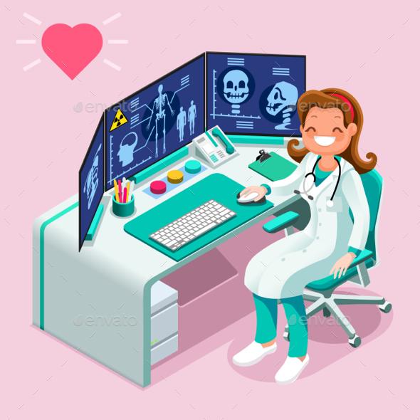 Hospital Computer Healthcare Data Isometric People Cartoon - Vectors