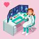 Hospital Computer Healthcare Data Isometric People Cartoon